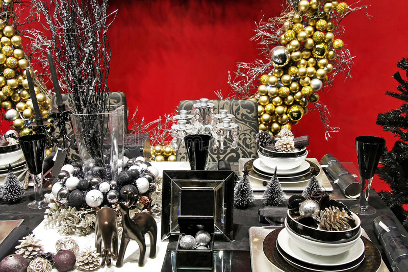Dark Christmas table stock image