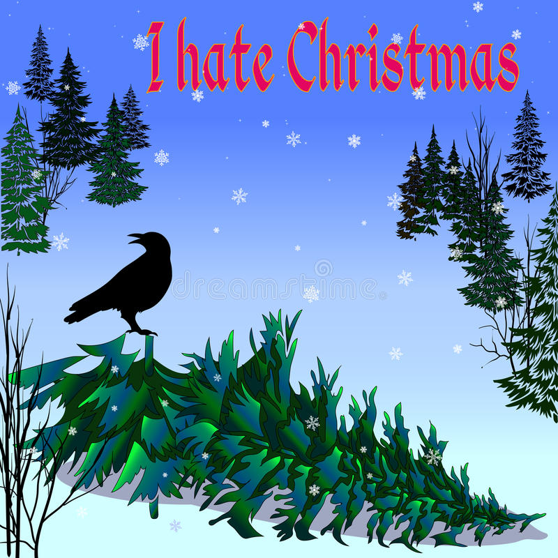 Dark Christmas Tree with Crow and words I Hate Christmas. Vector image in abstract art style, done in a slightly psychedelic manner stock illustration