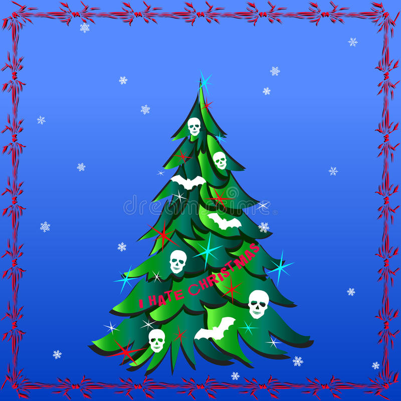 Dark Christmas Tree with Human Skulls, Bats and words I Hate Christmas. Vector image in abstract art style, done in a slightly psychedelic manner stock illustration