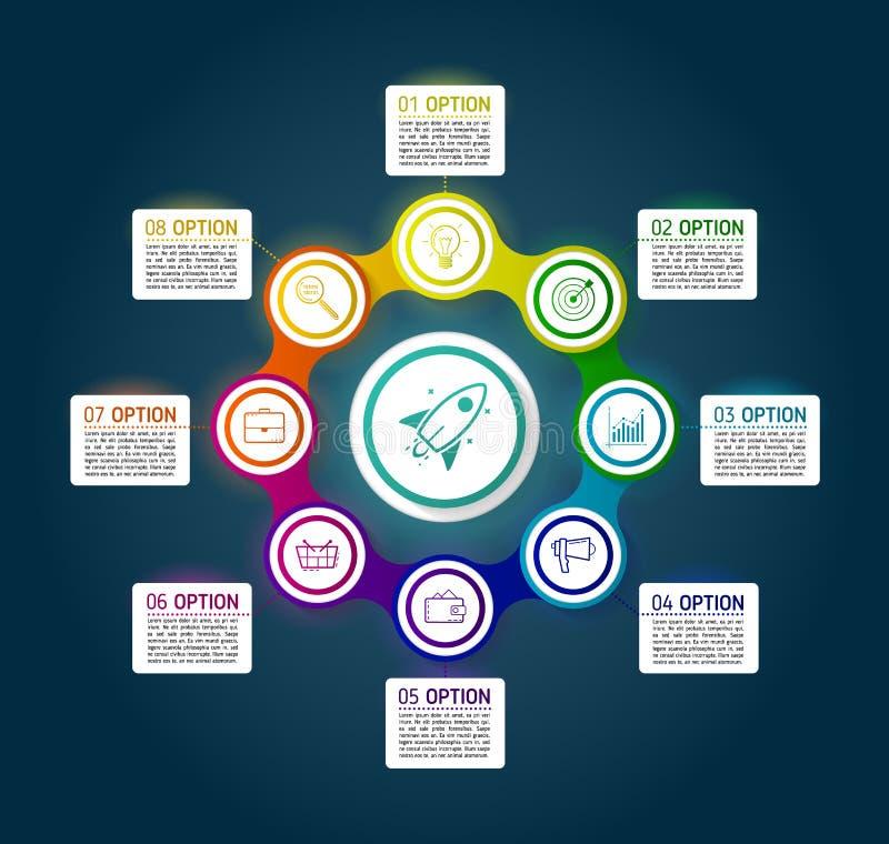 Dark circle colorful chain diagram infographics for presentation stock illustration