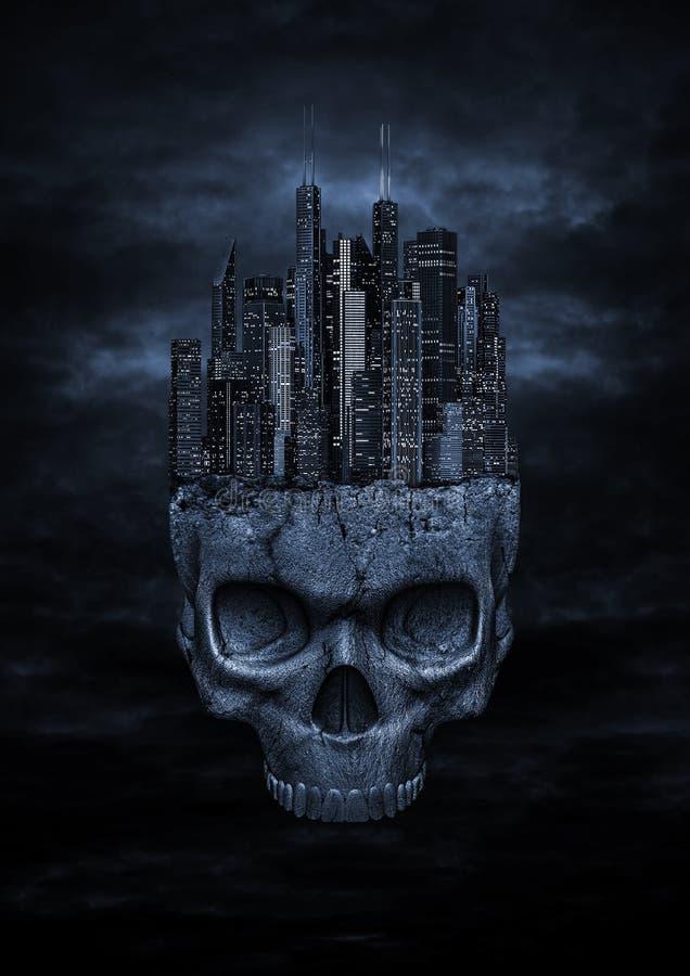 Download Dark city stock illustration. Illustration of head, fear - 28535758