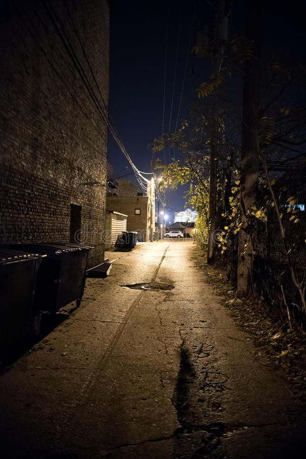 Dark City Alley at Night. Dark Urban City Alley at Night stock images