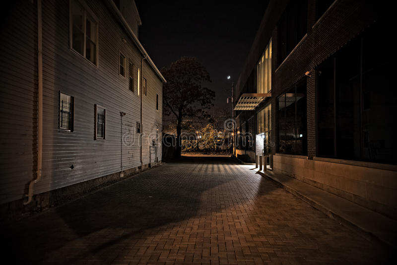 Dark City Alley at Night. Dark Urban Alley at Night stock images