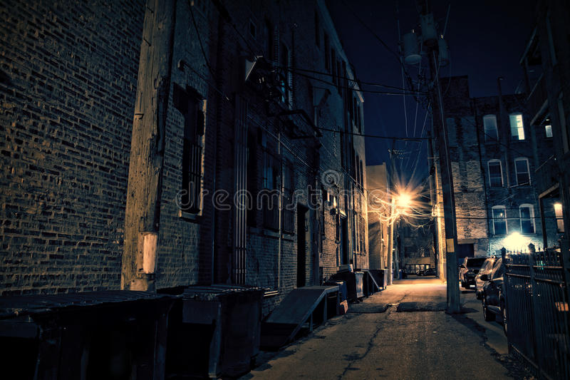 Dark City Alley. Dark Urban Alley at Night royalty free stock images