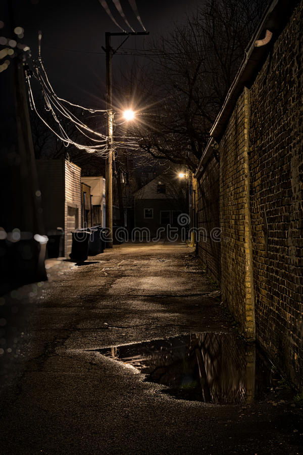 Dark City Alley. Dark Urban Alley at Night stock photography