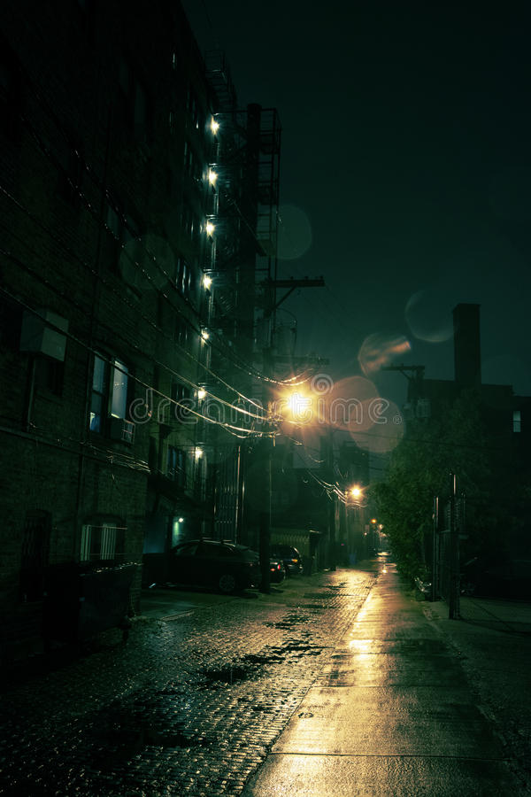 Dark City Alley. Dark Urban Alley at Night stock images