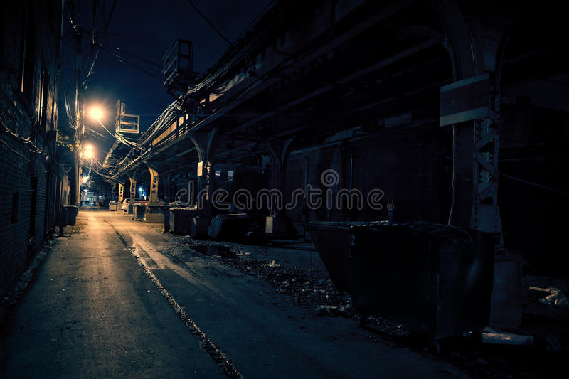 Dark City Alley. Dark Urban Alley at Night stock photo