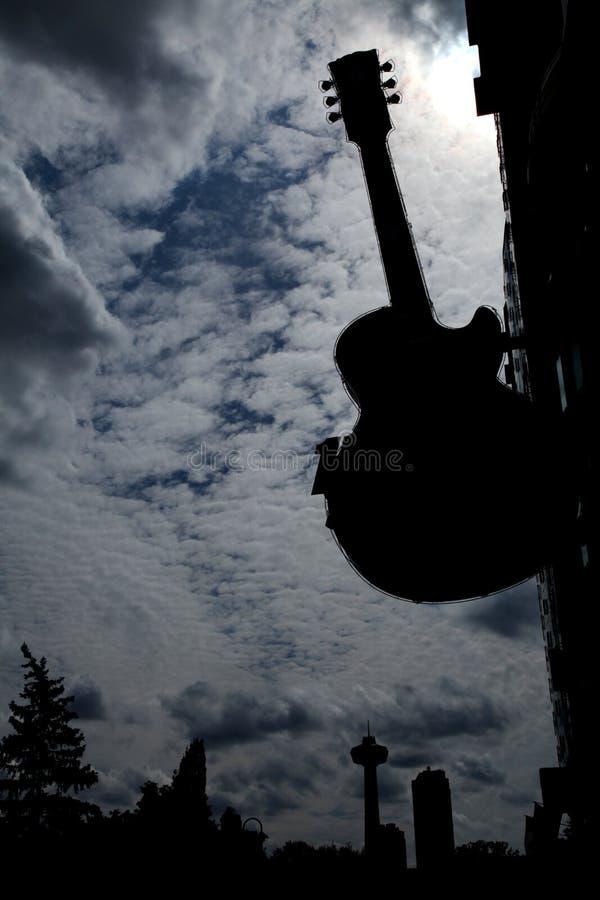 Dark city silhouette stock photo