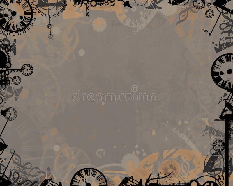 Dark clocks industrial frame background royalty free illustration