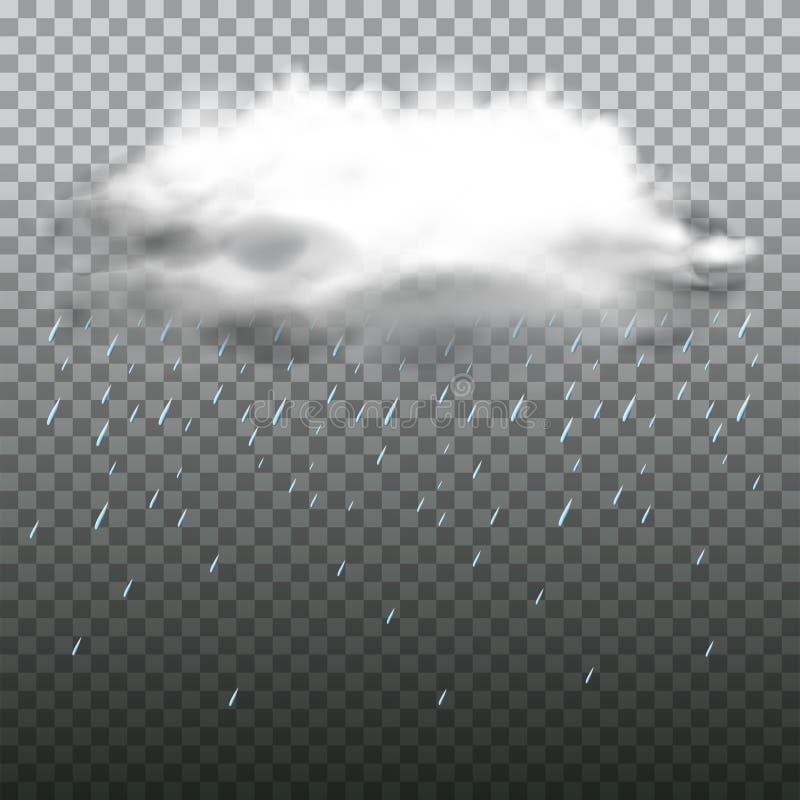 Dark cloud and rain on transparent background royalty free illustration