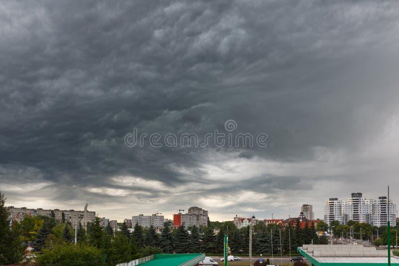 Dark clouds asperatus over Kaliningrad. Kaliningrad, Russia, July 8 2015: Dark clouds asperatus before the storm over city stock image