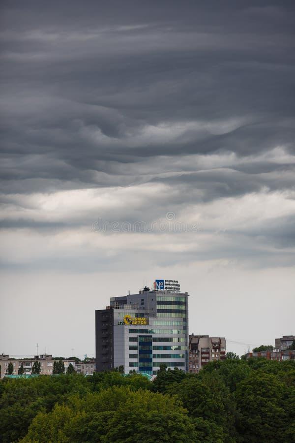 Dark clouds asperatus over Kaliningrad. Kaliningrad, Russia, July 8 2015: Dark clouds asperatus before the storm over city stock photography