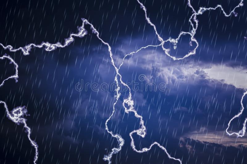 Dark clouds in ky, while rain and the lightning bolt. With copy space and for text input and weather forecast stock photography