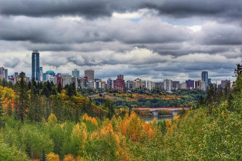 Dark Clouds Over Edmonton stock images