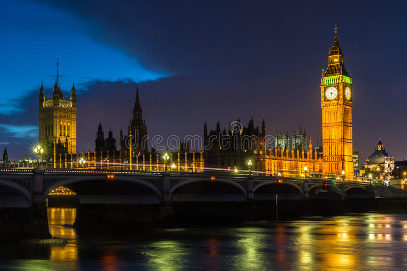 Dark Clouds over the Houses of Parliament. London, England stock photos