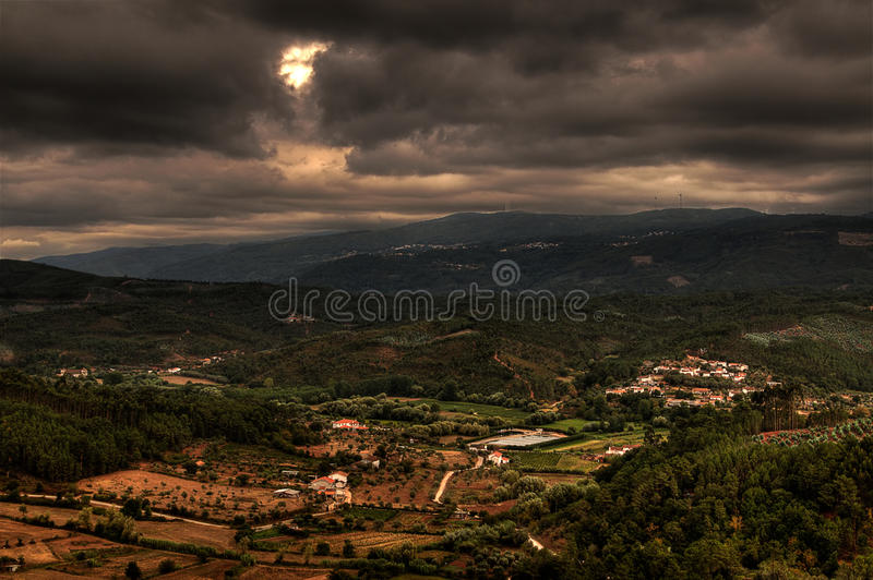 Dark clouds over Portugal royalty free stock photography