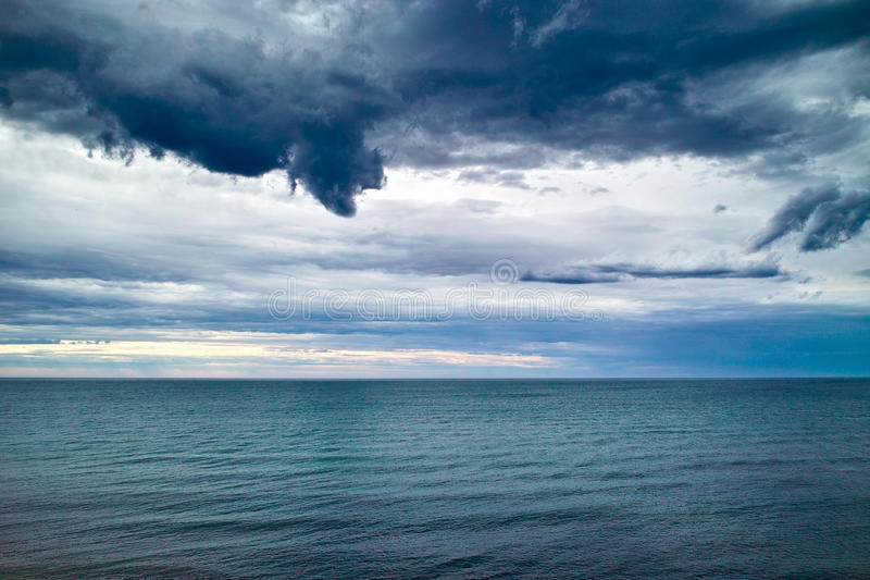 Dark Clouds over sea. Drive on the Great Ocean Road, the Sea wiht Dark Clouds beside me stock images