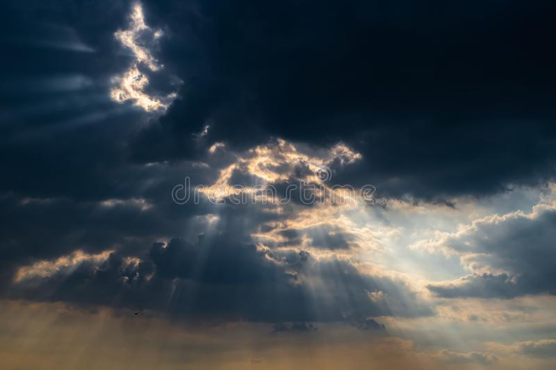 Dark cloudy sky black background, Dramatic cloudy storm.  stock photography