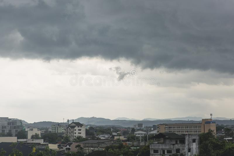 Dark cloudy sky before raining royalty free stock photo