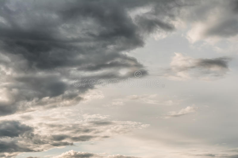 Dark cloudy sky with thick clouds. The dark cloudy sky with thick clouds stock images