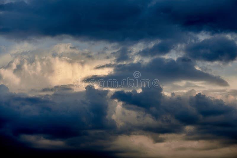 Dark cloudy sky before thunderstorm. Beautiful dark cloudy sky before the thunderstorm royalty free stock photo