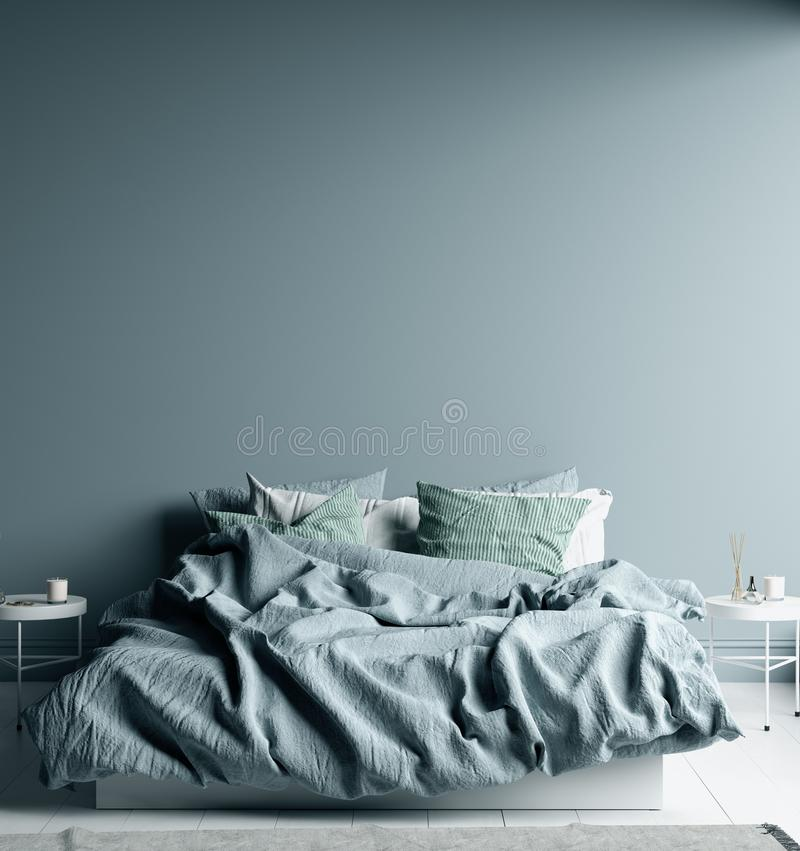 Free Dark Cold Blue Bedroom Interior With Linen Sheet On Bed, Wall Mock Up Royalty Free Stock Photos - 167934168