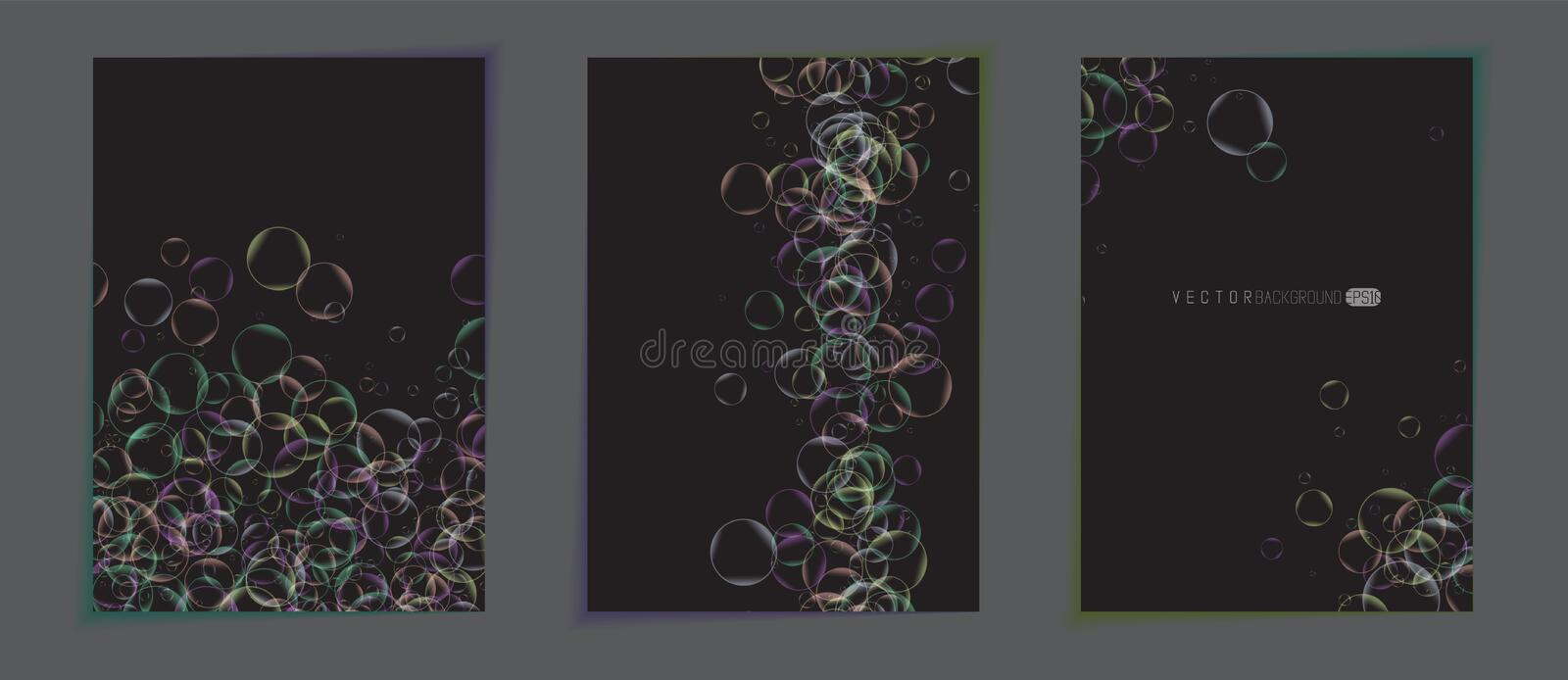 Abstract colorful backgrounds. posters. Dark color backdrops with transparent colorful bubbles. Minimalistic realistic. Dark color backdrops with transparent vector illustration
