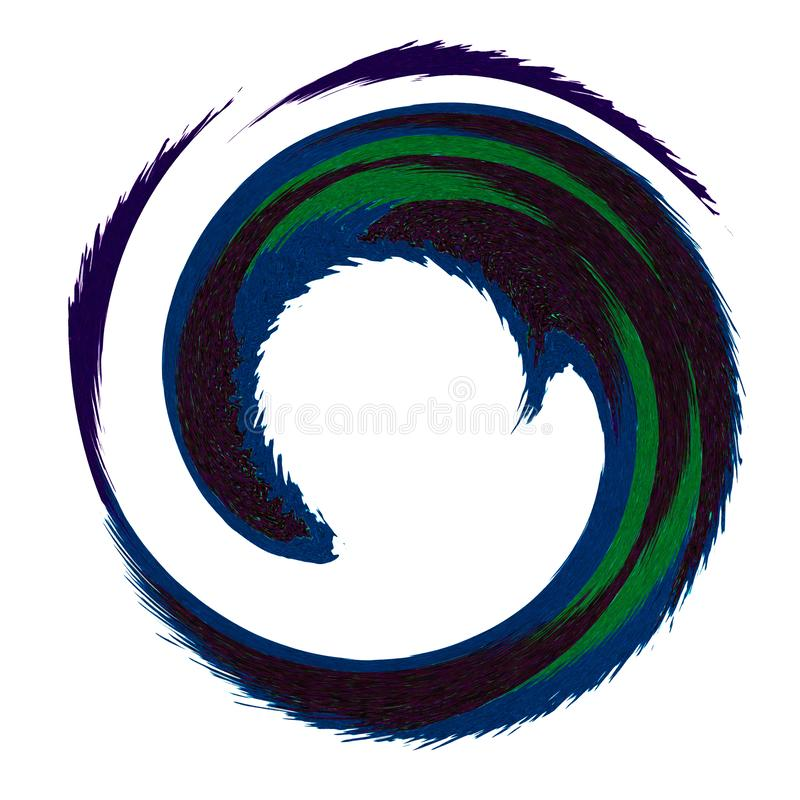 Dark colored feather effect circular logo.  stock illustration