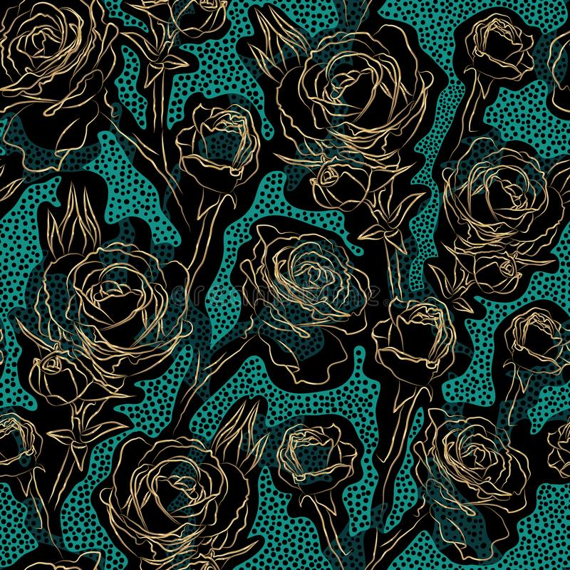 Dark colored floral vector seamless pattern. Golden contours rose flowers on spotted blue turquoise and black background. Template stock illustration