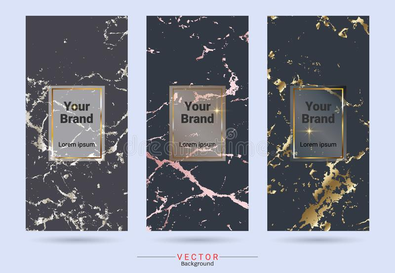 Dark colored and gold packaging product design label and stickers templates vector illustration