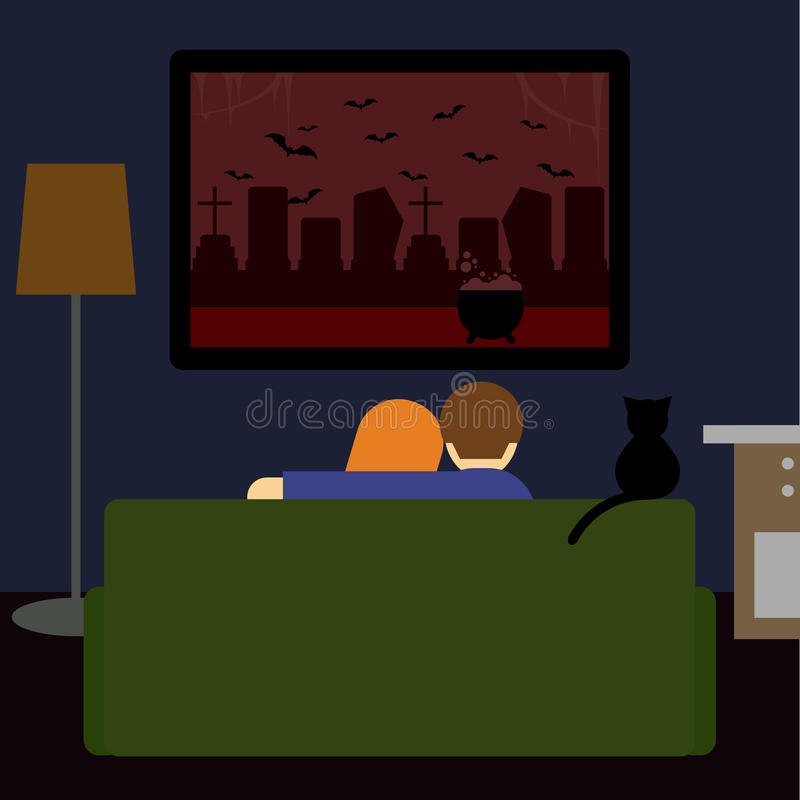 Dark colored illustration in flat style with couple and black cat watching the scary film on television sitting on couch in room. Dark colored illustration in vector illustration
