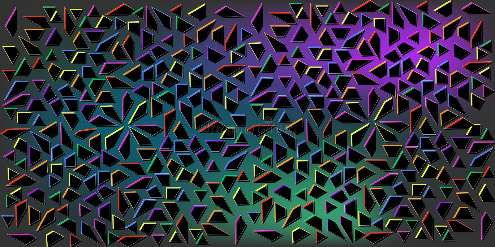 Dark Colors vector of small black triangles on colorful background. Illustration of abstract texture of triangles. Pattern design vector illustration