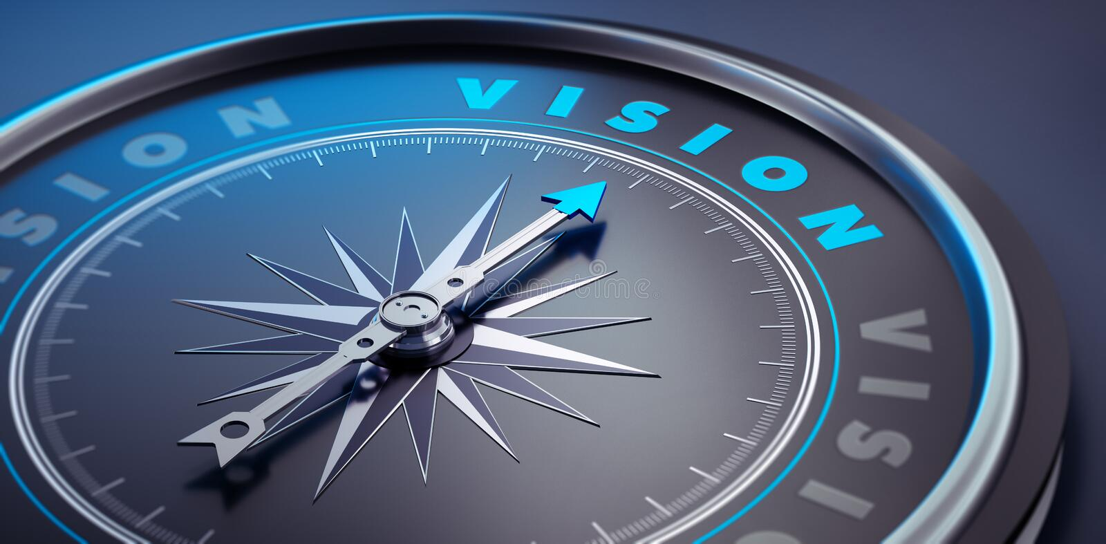 Dark stylish compass - concept vision stock illustration