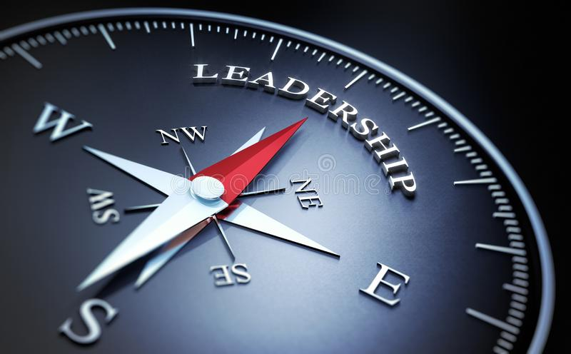 Dark compass with silver and red needle - concept leadership royalty free illustration