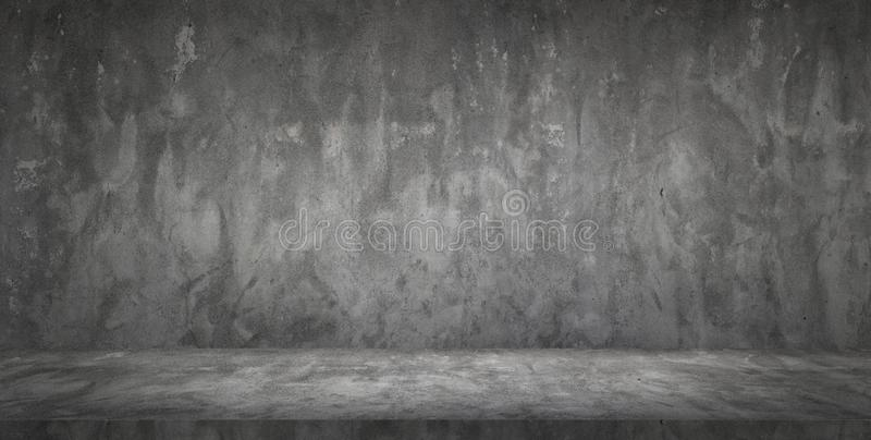 Dark Black Concrete Wall and Floor Empty Room royalty free stock image