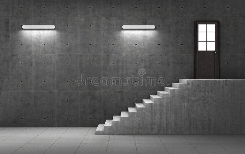 Dark concrete room with stairs leading to the door royalty free illustration