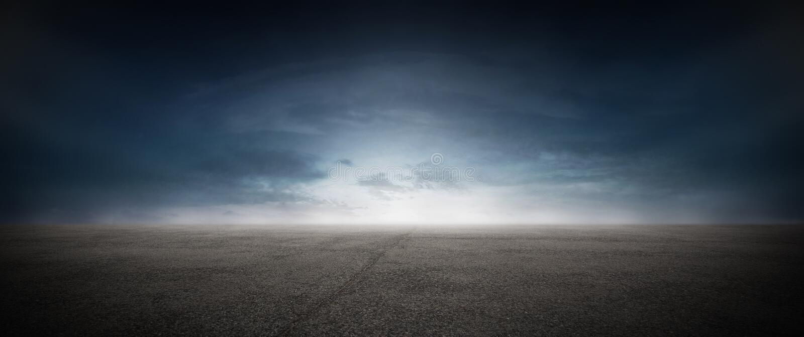 Dark Concrete Street Asphalt Floor Sunset Horizon stock images