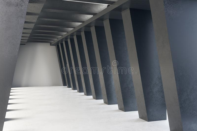 Dark concrete tunnel interior stock illustration