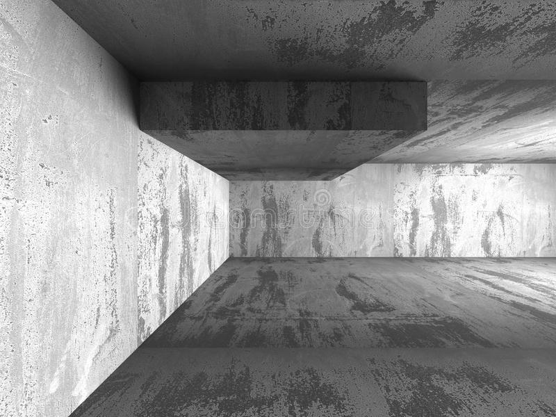 Dark concrete walls room interior. Architecture abstract background stock photo