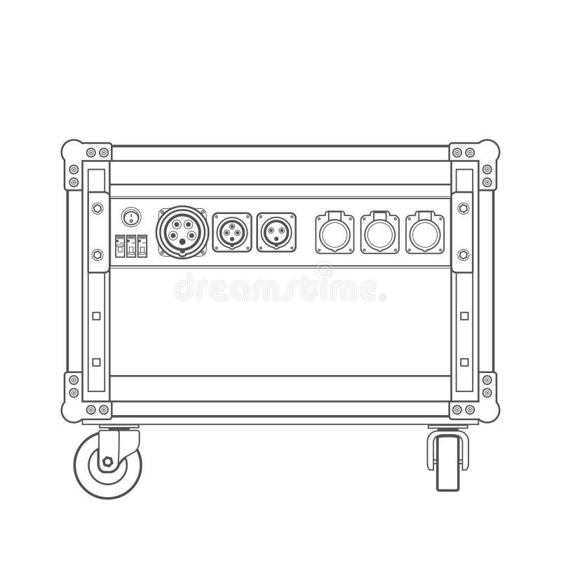 Free Dark Contour Concert Stage Rack Box Power Sockets Panel Illustration. Royalty Free Stock Image - 54798576