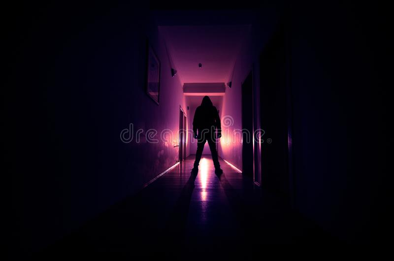 spooky lighting. Download Dark Corridor With Cabinet Doors And Lights Silhouette Of Spooky Horror Man Standing Lighting A