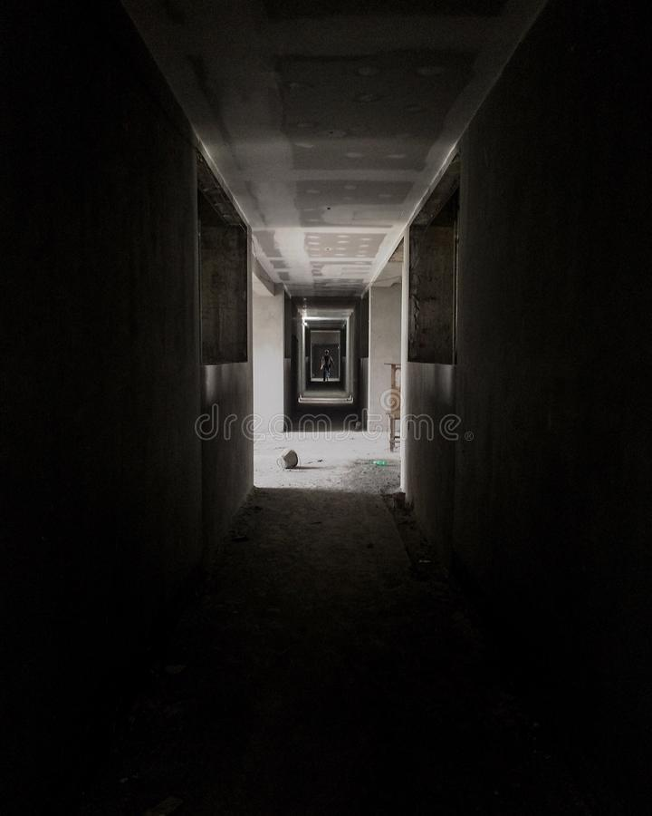 Dark corridor stock photos