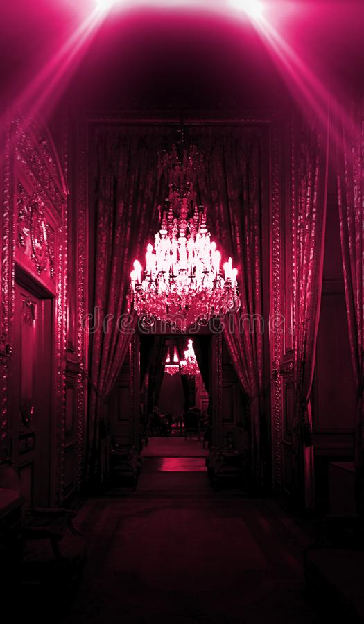 Dark corridor with neon light, luxurious interior in a night club version. Louvre royalty free stock images