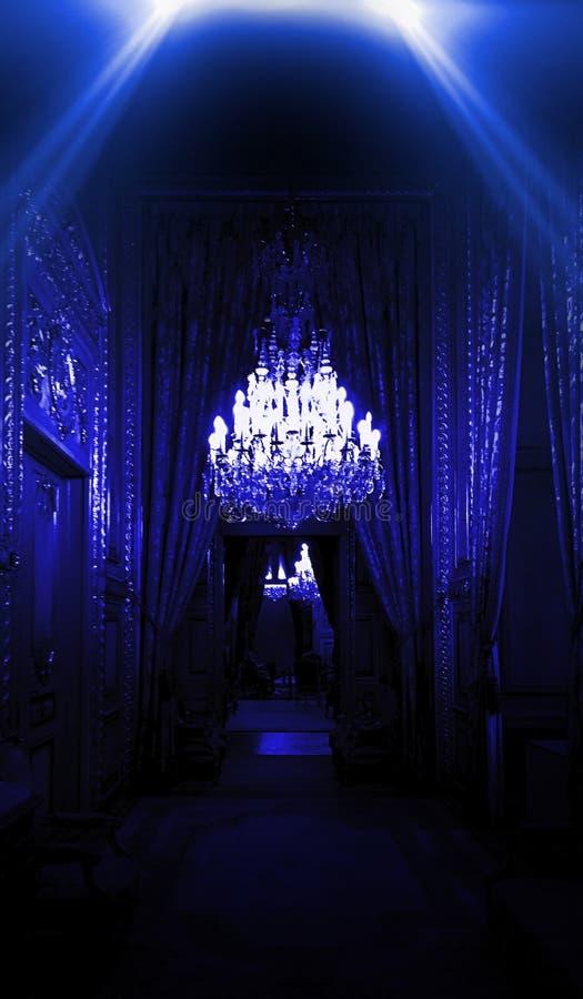 Dark corridor with neon light, luxurious interior in a night club version. Louvr. E royalty free stock photos