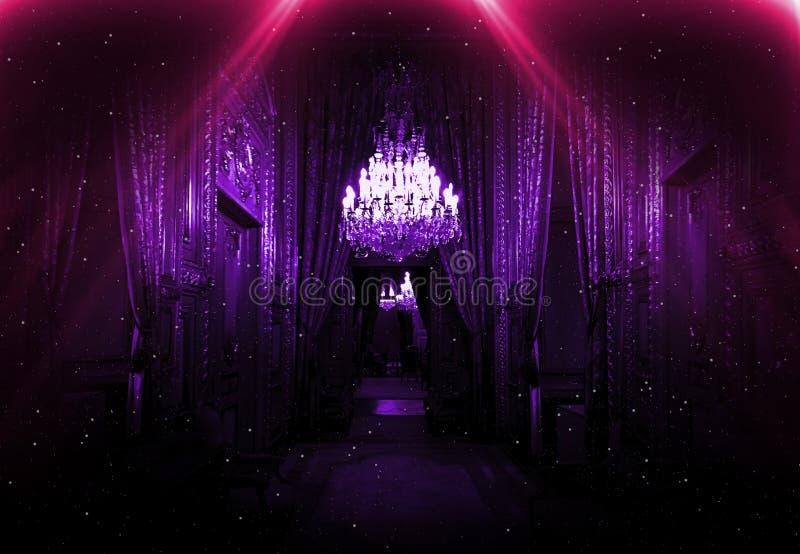 Dark corridor with neon light, luxurious interior in a night club version. Louvr. E royalty free stock photo