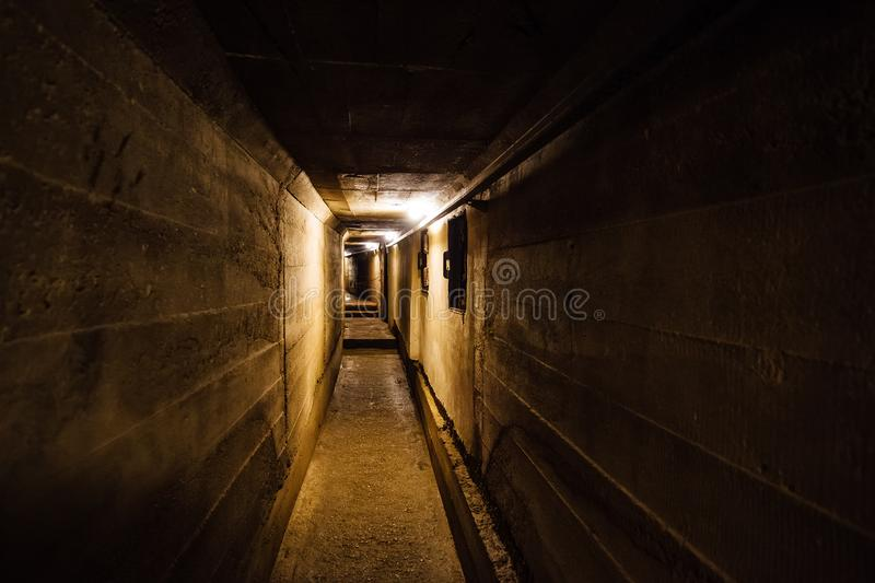 Dark corridor of old underground Soviet military bunker under artillery fortification. Sevastopol, Crimea stock images