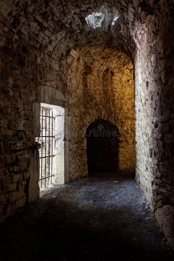 Dark corridor ruins medieval castle Franchimont, Theux, Liege, Belgium stock photography