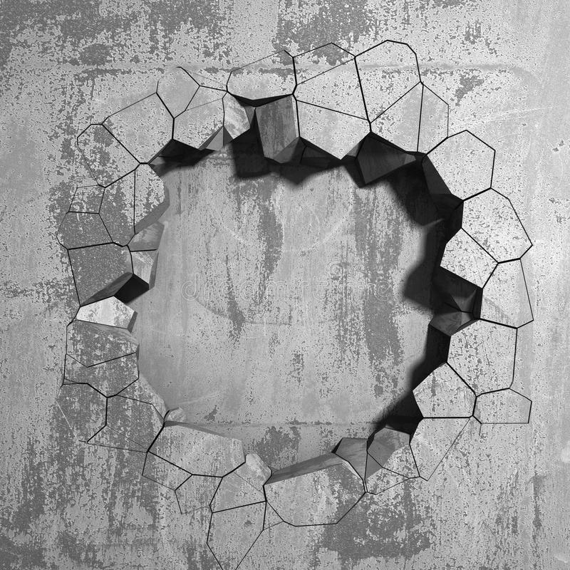 Dark cracked broken hole in concrete wall. Grunge background royalty free illustration