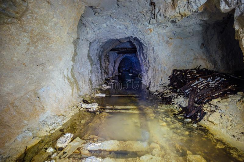 Dark creepy dirty flooded abandoned mine tunnel.  stock images