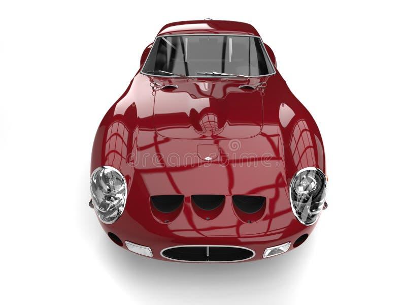Dark crimson fast vintage race car - top front view stock illustration